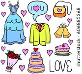 collection of wedding element... | Shutterstock .eps vector #606885368