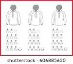 hooded sweatshirt template... | Shutterstock .eps vector #606885620