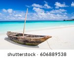An Old Wooden Fishing Boat On ...