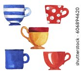 set of teacups and mugs painted ... | Shutterstock . vector #606894620