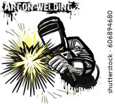 welder in a mask performing... | Shutterstock .eps vector #606894680