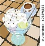 italian ice cream on a ceramic... | Shutterstock .eps vector #606896858