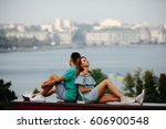 man and woman together on a... | Shutterstock . vector #606900548