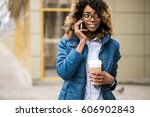 african american woman using... | Shutterstock . vector #606902843