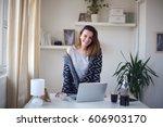smiling busy girl standing in... | Shutterstock . vector #606903170
