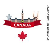travel to canada. america.... | Shutterstock .eps vector #606908984