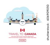 travel to canada. america.... | Shutterstock .eps vector #606909050