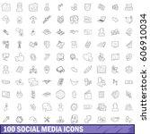 100 social media set in outline ... | Shutterstock .eps vector #606910034