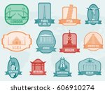 famous monuments and landmarks... | Shutterstock .eps vector #606910274