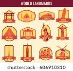 famous monuments and landmarks... | Shutterstock .eps vector #606910310