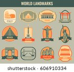 famous monuments and landmarks... | Shutterstock .eps vector #606910334
