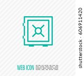 safe bank line icon for web and ... | Shutterstock .eps vector #606911420