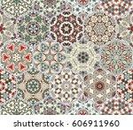 a rich set of hexagonal ceramic ... | Shutterstock .eps vector #606911960