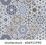 a rich set of hexagonal ceramic ... | Shutterstock .eps vector #606911990