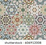 a rich set of hexagonal ceramic ... | Shutterstock .eps vector #606912008