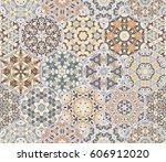 a rich set of hexagonal ceramic ... | Shutterstock .eps vector #606912020