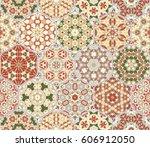 a rich set of hexagonal ceramic ... | Shutterstock .eps vector #606912050