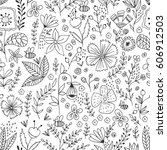 hand drawn floral pattern.... | Shutterstock .eps vector #606912503