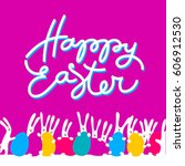 easter greeting card template... | Shutterstock .eps vector #606912530