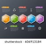 vector abstract 3d paper... | Shutterstock .eps vector #606913184