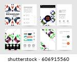 memphis geometric background... | Shutterstock .eps vector #606915560