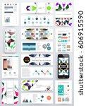 memphis geometric background... | Shutterstock .eps vector #606915590