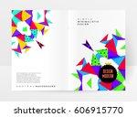 memphis geometric background... | Shutterstock .eps vector #606915770