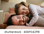father and daughter spending... | Shutterstock . vector #606916298