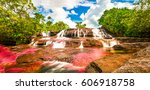 multicolored waterfall river in ... | Shutterstock . vector #606918758