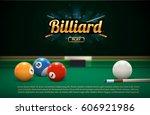billiard table front view balls ...   Shutterstock .eps vector #606921986
