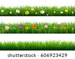 grass border with flower with... | Shutterstock .eps vector #606923429