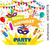 happy birthday card or banner... | Shutterstock .eps vector #606928778