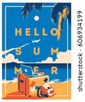 summer holiday and summer camp... | Shutterstock .eps vector #606934199