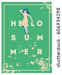 summer holiday and summer camp... | Shutterstock .eps vector #606934298