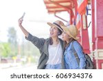 young backpackers taking a... | Shutterstock . vector #606934376