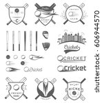 set of cricket team emblem... | Shutterstock .eps vector #606944570