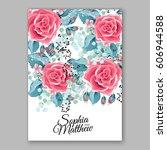 red rose wedding invitation... | Shutterstock .eps vector #606944588