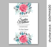 red rose wedding invitation... | Shutterstock .eps vector #606944600