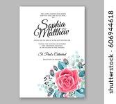 red rose wedding invitation... | Shutterstock .eps vector #606944618