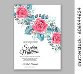red rose wedding invitation... | Shutterstock .eps vector #606944624