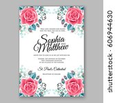 red rose wedding invitation... | Shutterstock .eps vector #606944630