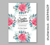 red rose wedding invitation... | Shutterstock .eps vector #606944639