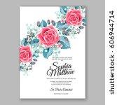 red rose wedding invitation... | Shutterstock .eps vector #606944714