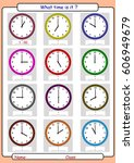 telling the time  what is the... | Shutterstock .eps vector #606949679