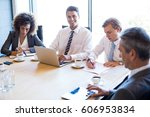 businesspeople in conference... | Shutterstock . vector #606953834