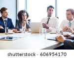 businesspeople in conference... | Shutterstock . vector #606954170