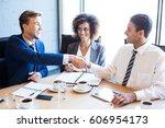 businesspeople having a... | Shutterstock . vector #606954173