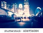 city in bokeh night street of... | Shutterstock . vector #606956084