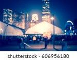 city in bokeh night street of... | Shutterstock . vector #606956180