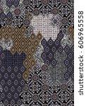 ethnic patchwork seamless... | Shutterstock .eps vector #606965558